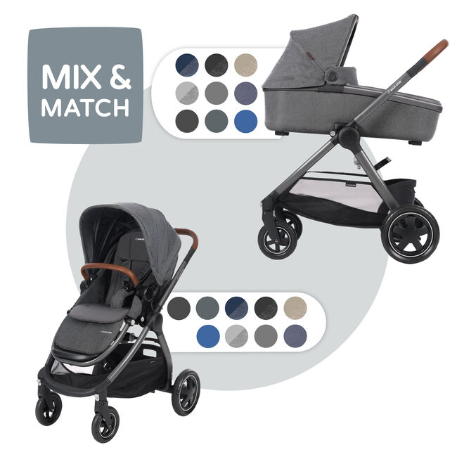 Maxi-Cosi Adorra met Oria reiswieg - Sparkling Grey
