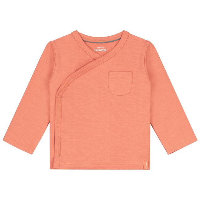 Prénatal newborn unisex overslag shirtje - Warm Orange
