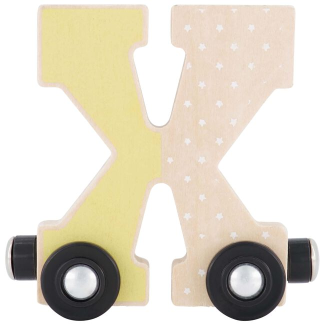 Prénatal houten namentrein letter X - Geel