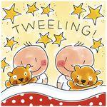 Blond Amsterdam wenskaart 'Tweeling' - Geel