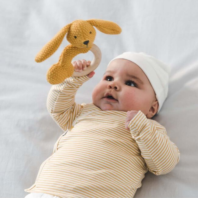 Prénatal newborn unisex overslag shirtje gestreept - Midyellow