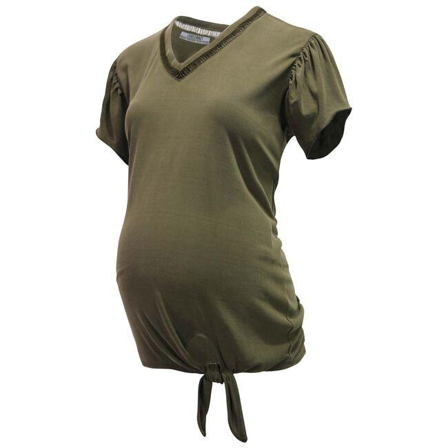 Love2Wait zwangerschaps T-shirt - Khakigreen