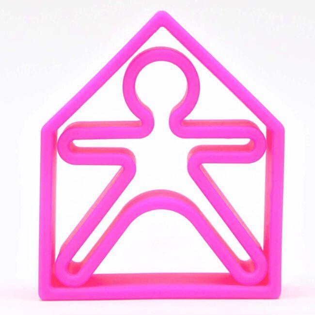Dëna siliconen speelgoed huisje + popje - Neon Pink
