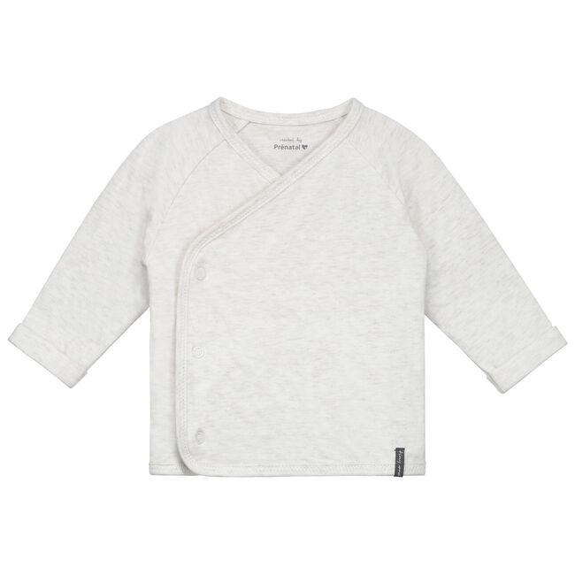 Prénatal newborn unisex overslag shirtje - Ecru Melange