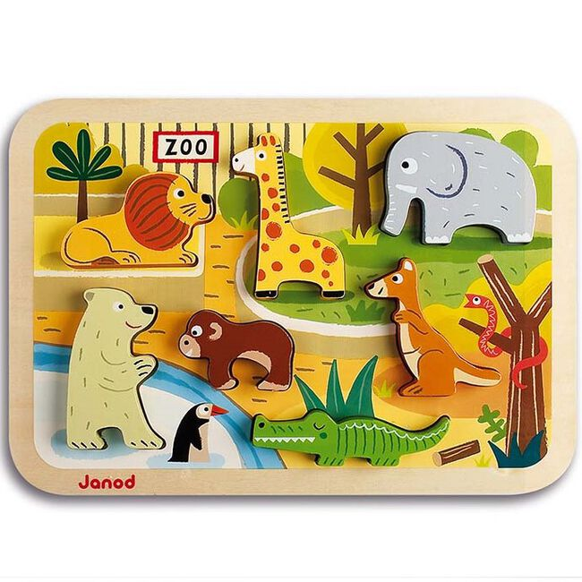 Janod chunky puzzel dierentuin - Multi
