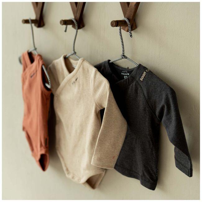 Prenatal newborn unisex overslag shirt - Deep Grey Melange