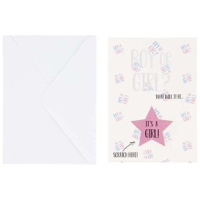 Prénatal kraskaart gender reveal - Pink