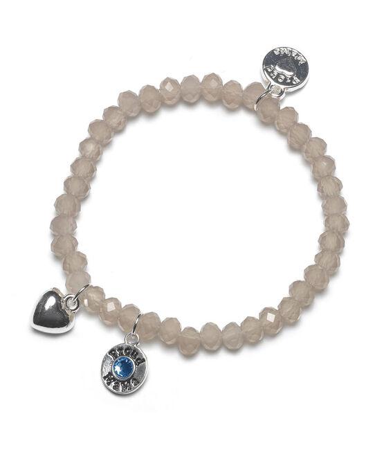 Proud MaMa armband taupe blw beads - Taupebrown