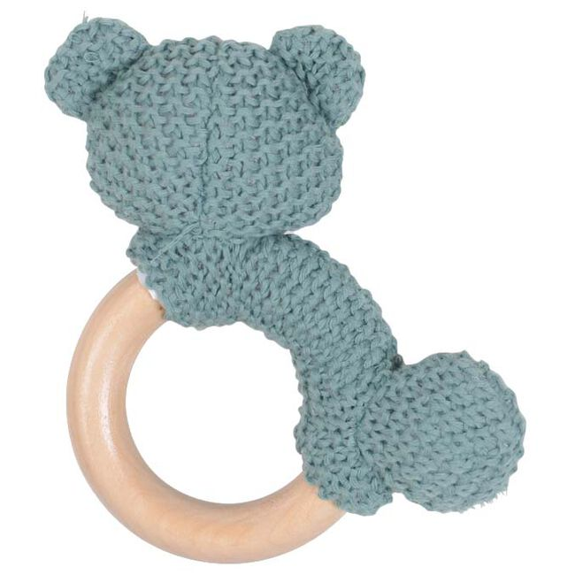 Prénatal rammelaar houten ring Buddy - Green Grey