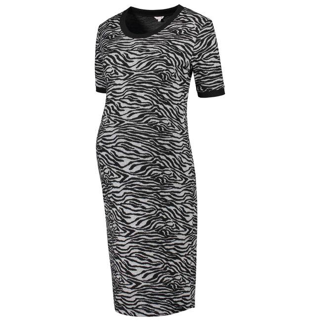 Prenatal zwangerschapsjurk met zebraprint - Black