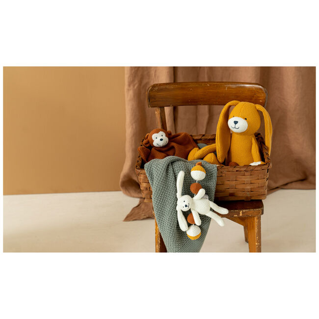 Prénatal knuffel konijn little knits - Light Yellow Brown