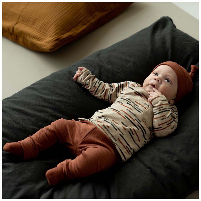 Prenatal newborn unisex overslag shirt - Sandbrown