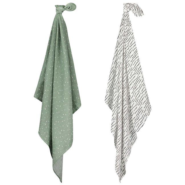 Prénatal hydrofiele doek zebra groen 115x115 - Green Grey