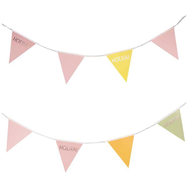 Prenatal vlaggenlijn hoera - Roze