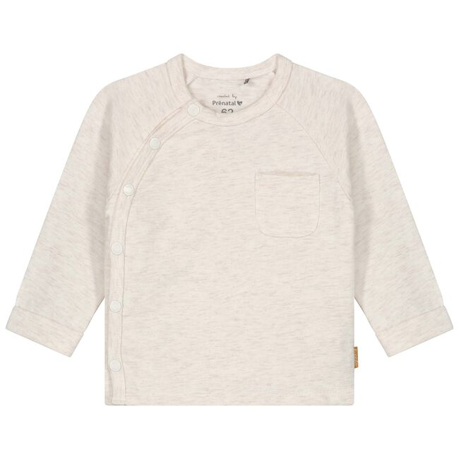 Prenatal newborn unisex overslag shirtje - Light Ecru Melange