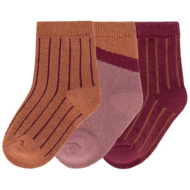 Prenatal meisjes sokken 3 stuks - Dark Redshade