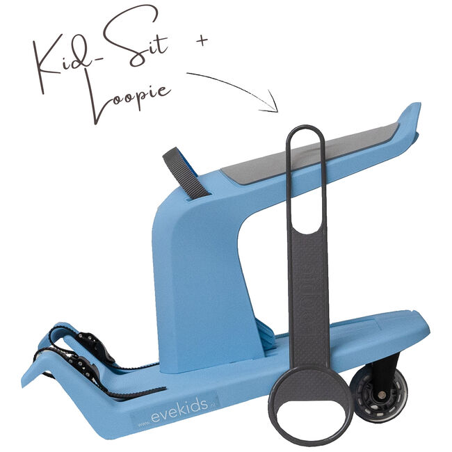 KidSit soft blue + Loopie grijs -