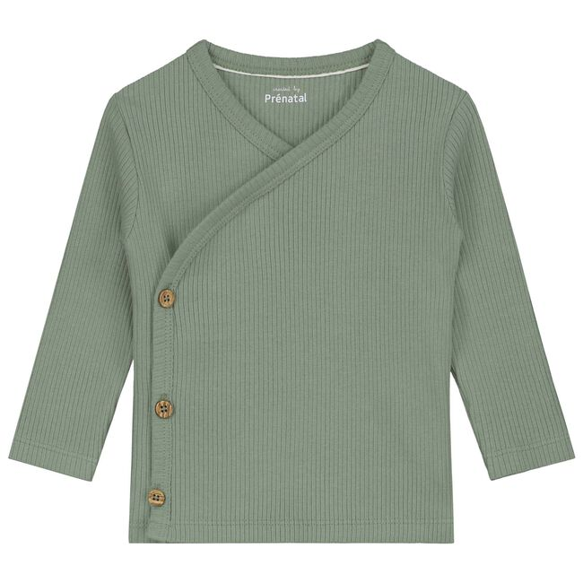 Prénatal newborn unisex overslag shirtje - Light Khaki Green