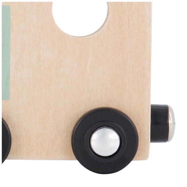Prénatal houten namentrein locomotief -