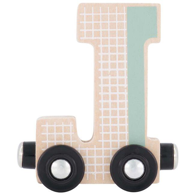 Prénatal houten namentrein letter J - Mintgreen