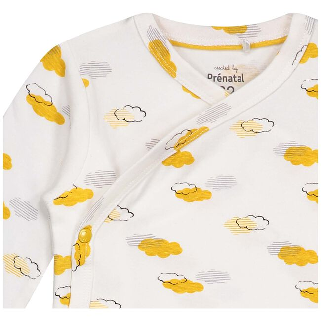 Prénatal newborn unisex overslag shirtje met wolken - Onbehandeld/Naturel