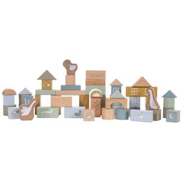 Little Dutch houten blokken in ton - Midblue