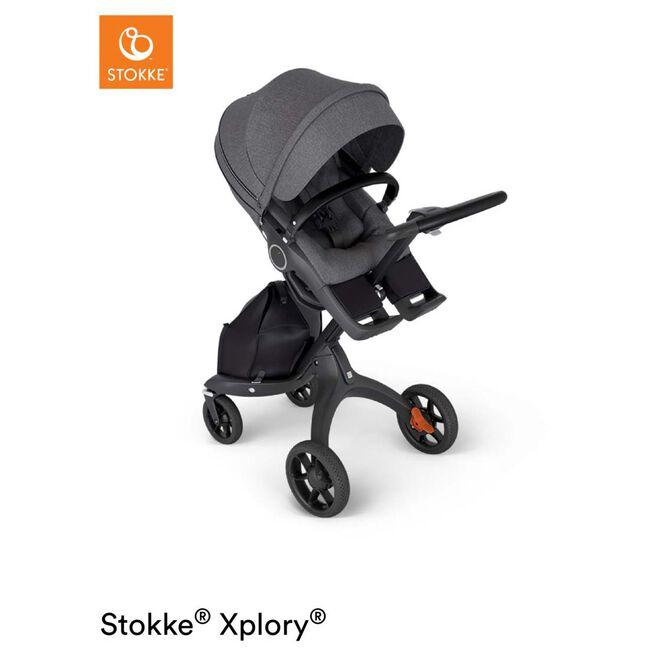 Stokke Xplory V6 kinderwagen met zit - Black Melange (Black Leather)