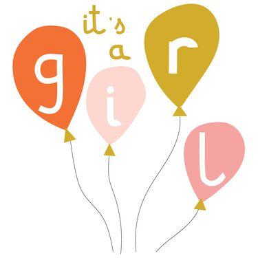 Caroline Gardner wenskaart It's a girl - balloons -