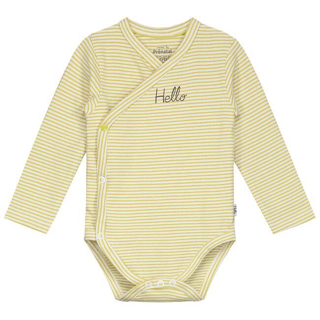 Prénatal newborn unisex romper gestreept - Midyellow
