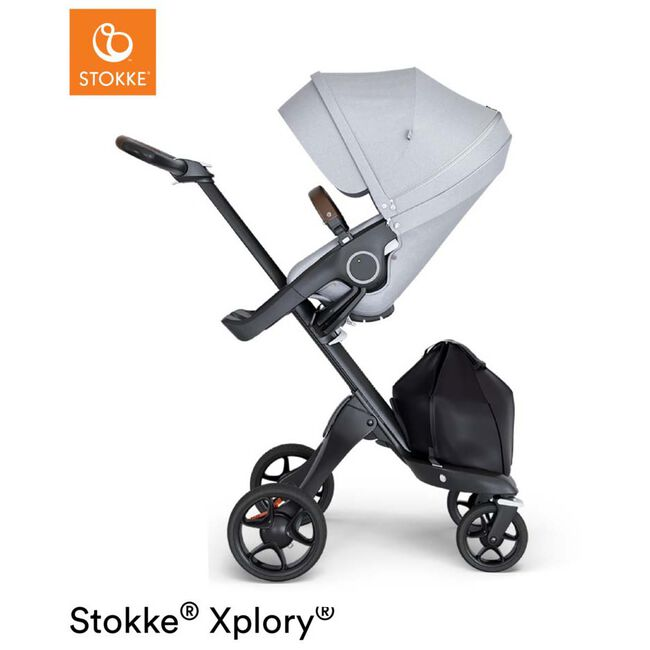 Stokke Xplory V6 kinderwagen met zit - Grey Melange (Black Leather)