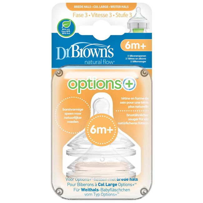Dr. Brown's Options+ Speen Fase 3 Brede Halsfles - White
