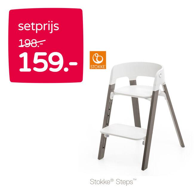 Combideal: Stokke steps zit + Stokke steps beuken poten -