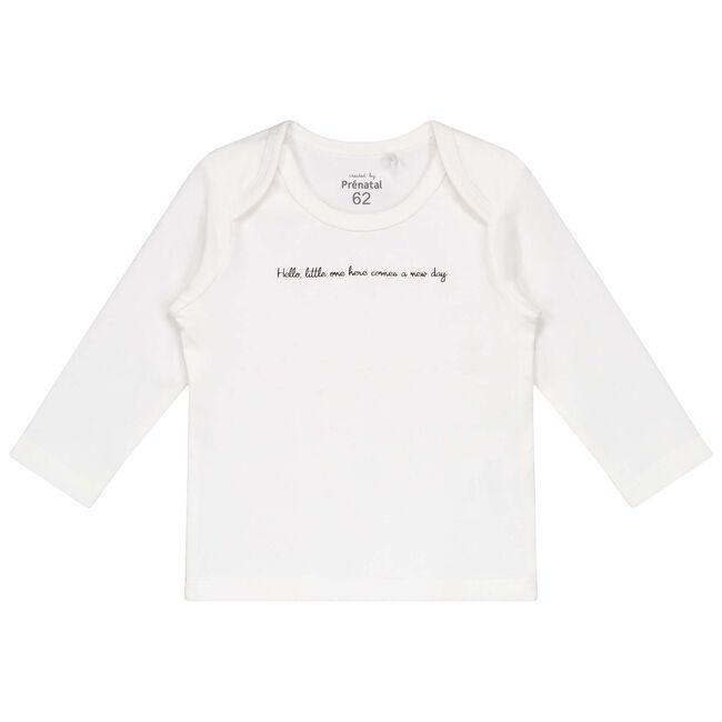 Prénatal newborn unisex shirtje met tekst - Onbehandeld/Naturel