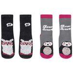 Prénatal meisjes antislip sokken 2 stuks - Rock Grey Melange
