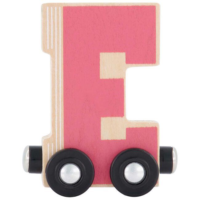 Prenatal houten namentrein letter E. - Roze