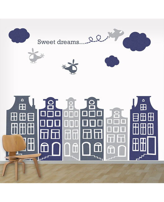 DecoDeco huisjes en vliegtuigjes blauw grijs - Geen Kleurcode