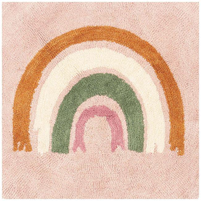 Prenatal vloerkleed regenboog rond - Dark Pink
