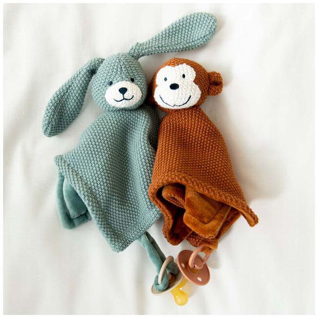 Prénatal knuffeldoekje konijn little knits - Midgreen