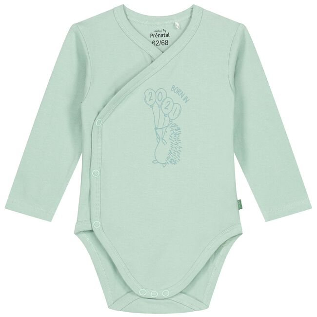 Prenatal overslag romper - Light Mint Green