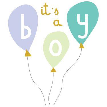 Caroline Gardner wenskaart It's a boy - balloons -