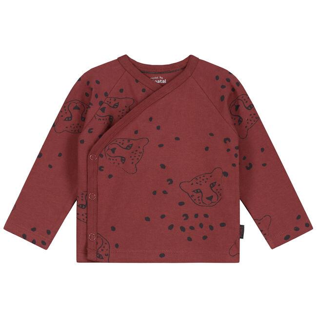 Prenatal newborn jongens overslag shirtje - Darkred