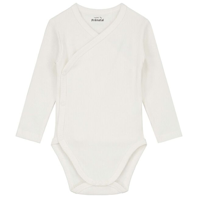 Prénatal newborn unisex romper rib - Dark Off-White