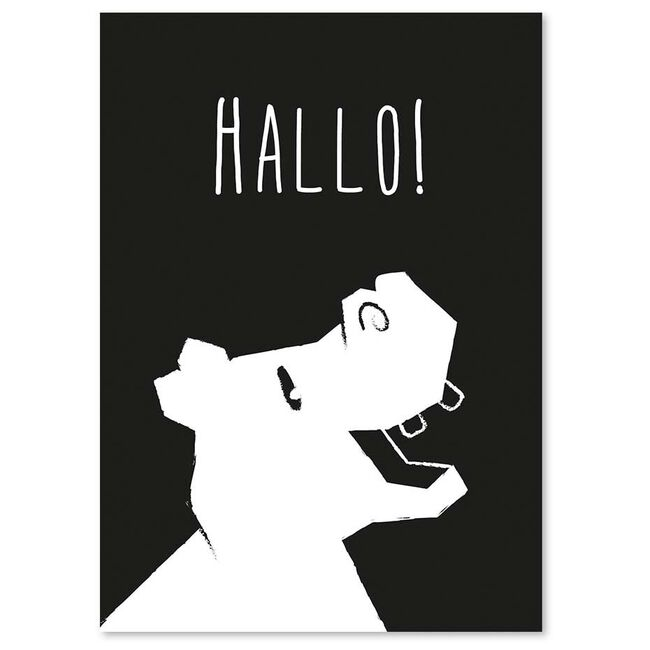 Studio Circus A6 kaart nijlpaard - Black