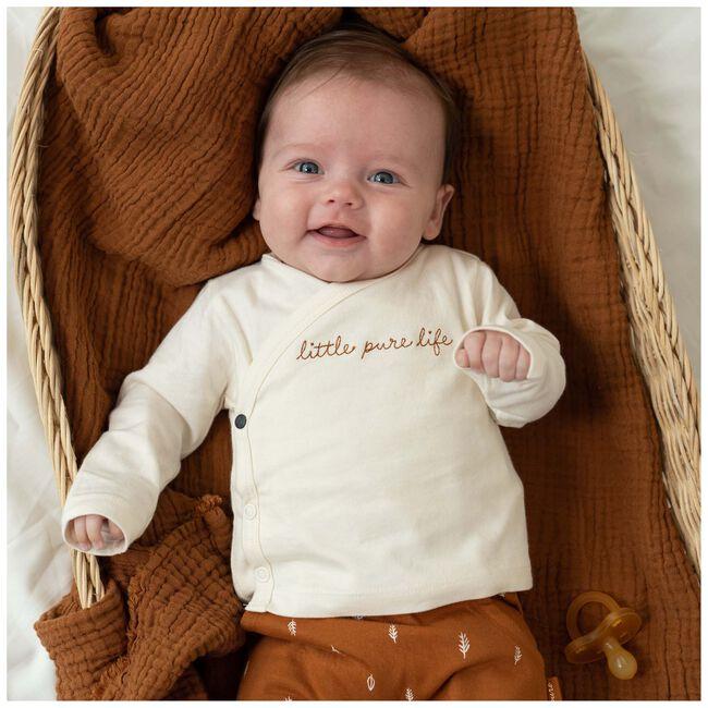 Prénatal baby unisex overslag shirtje Pure - Dark Off-White
