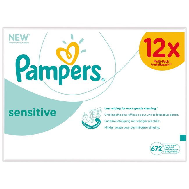 Pampers babydoekjes sensitive 12x52 stuks - Multi