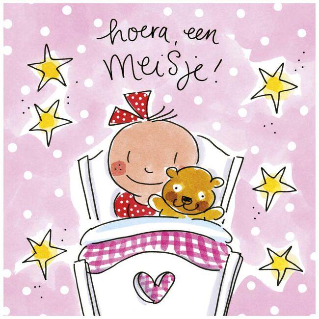 Blond Amsterdam wenskaart 'Hoera een meisje' - Roze
