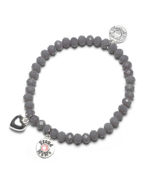 Proud MaMa armband grijs roze beads -