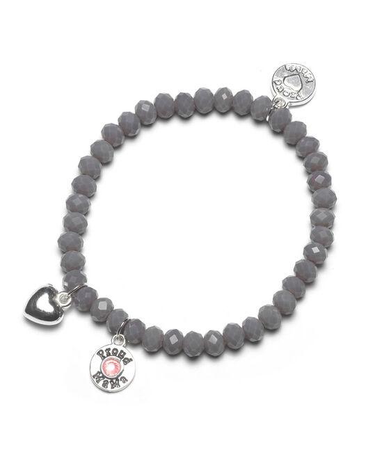 Proud MaMa armband grijs roze beads - Grey