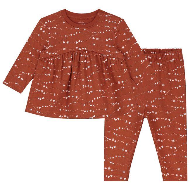 Prénatal meisjes baby pyjama - Dark Orange Brown