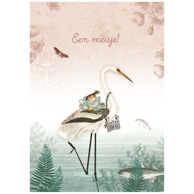 Pimpelmees kaart 'Een meisje!' - Groen/roze